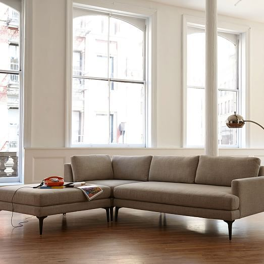 Living Room Designs With Sectionals Glamorous Andes 3Piece Chaise Sectional  Stone Twill #westelm  New Inspiration