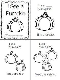 Pumpkin Count & Color Emergent Reader Fall preschool