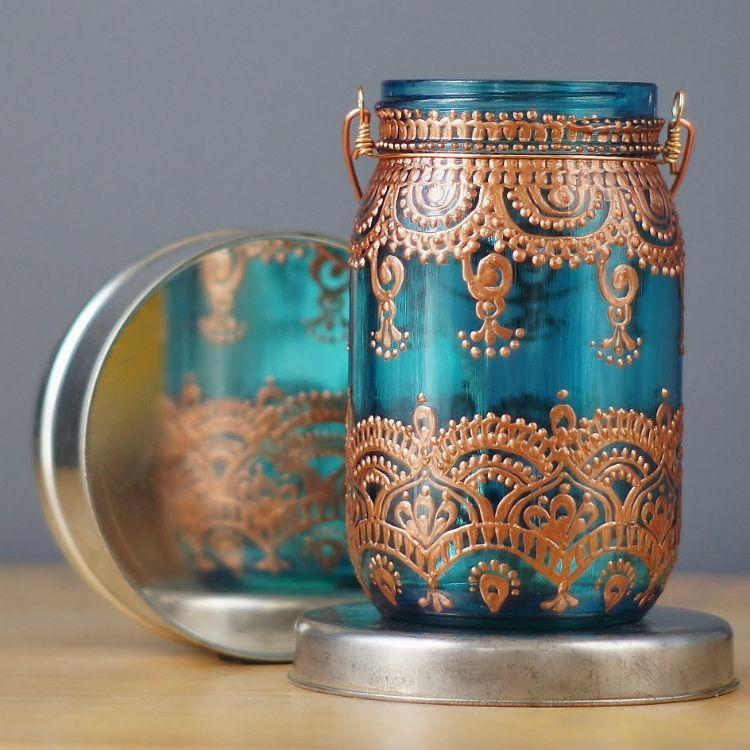 Windlicht Basteln windlicht basteln ornamente indisch einmachglas metallschalen