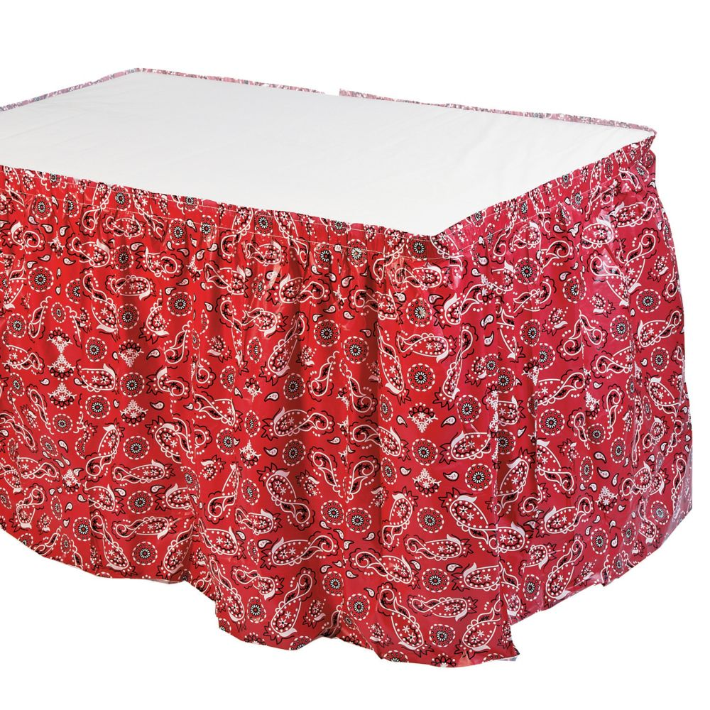 Red Bandana Print Table Skirt Oriental Trading In 2021 Western Theme Party Cowboy Theme Party Cowgirl Party