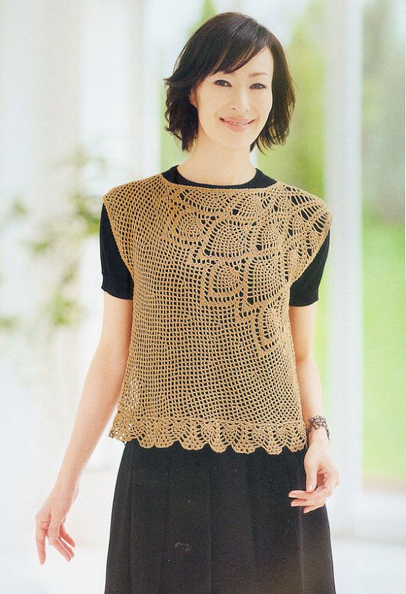 Japanese Crochet pineapple stitches Blouse Top by DotsStripes ...