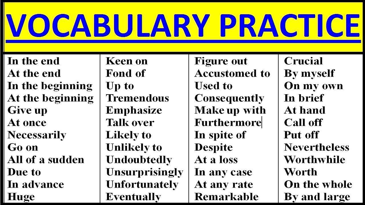 English Vocabulary Practice Intermediate Advanced Vocabulary