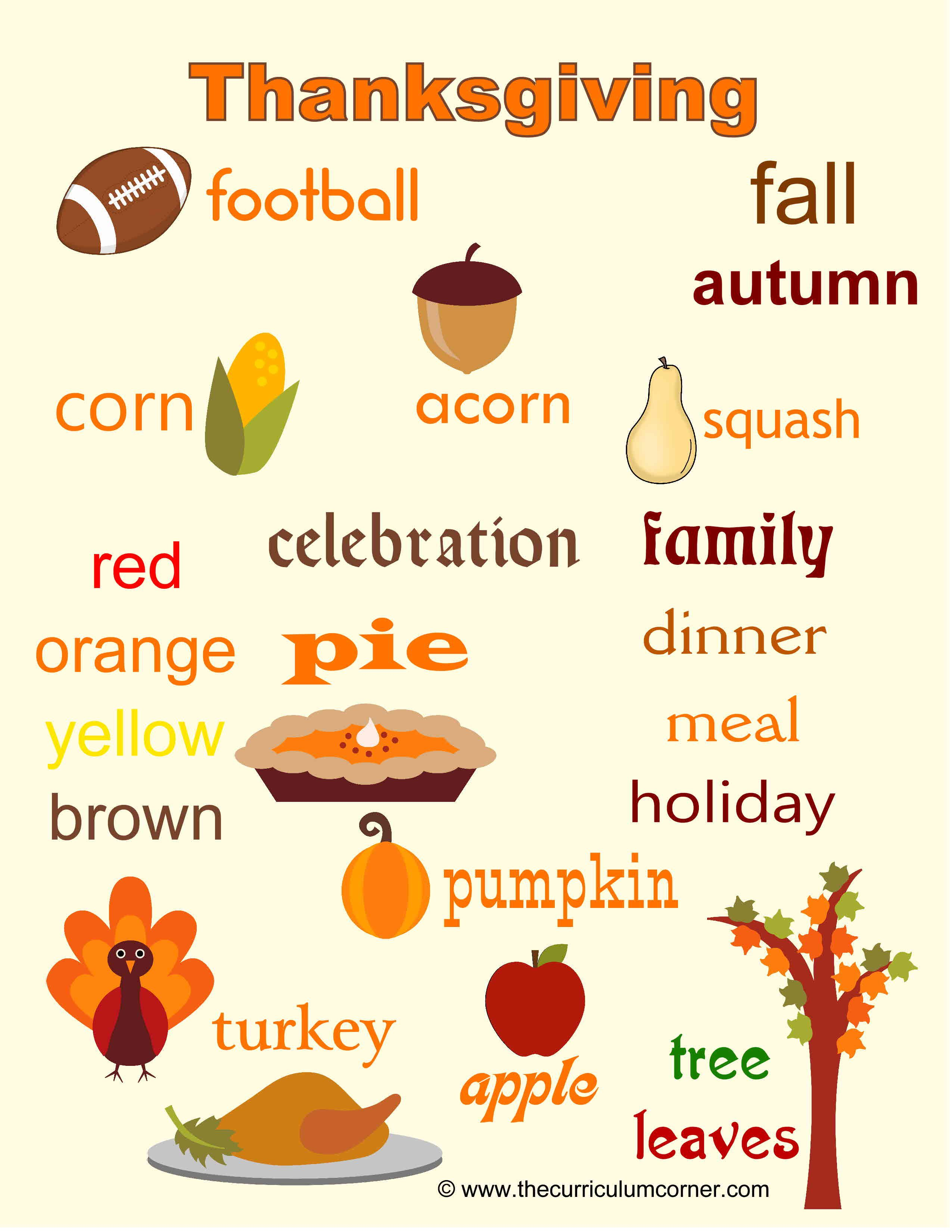 Thanksgiving Word Wall For Writers