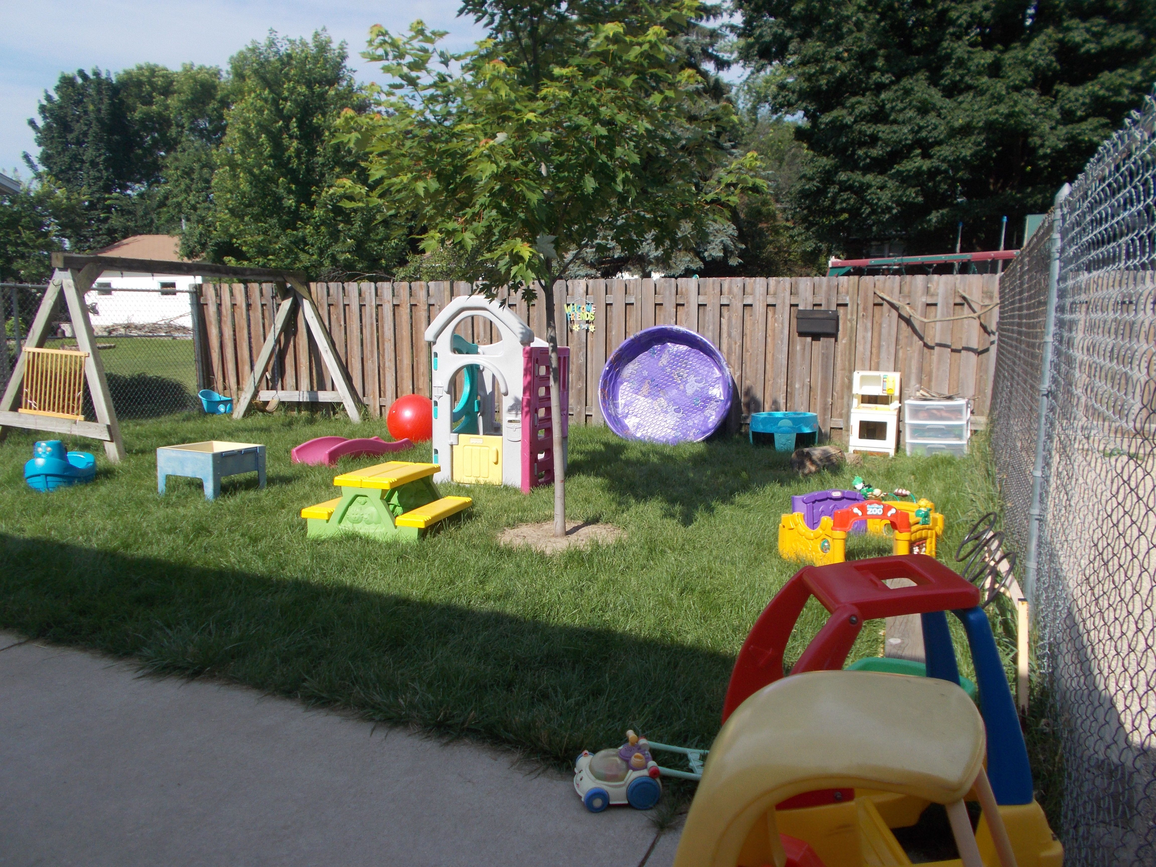 The toddler playground is set up with many centers to ac odate