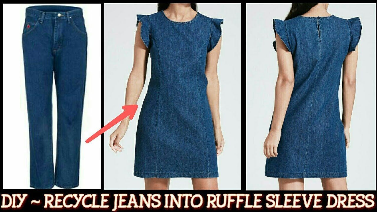 Photo of DIY : Convert/Reuse Old Men's Jeans into RUFFLE SLEEVE DENIM…