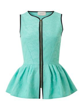 Almari Almari peplum zip front top Green - House of Fraser