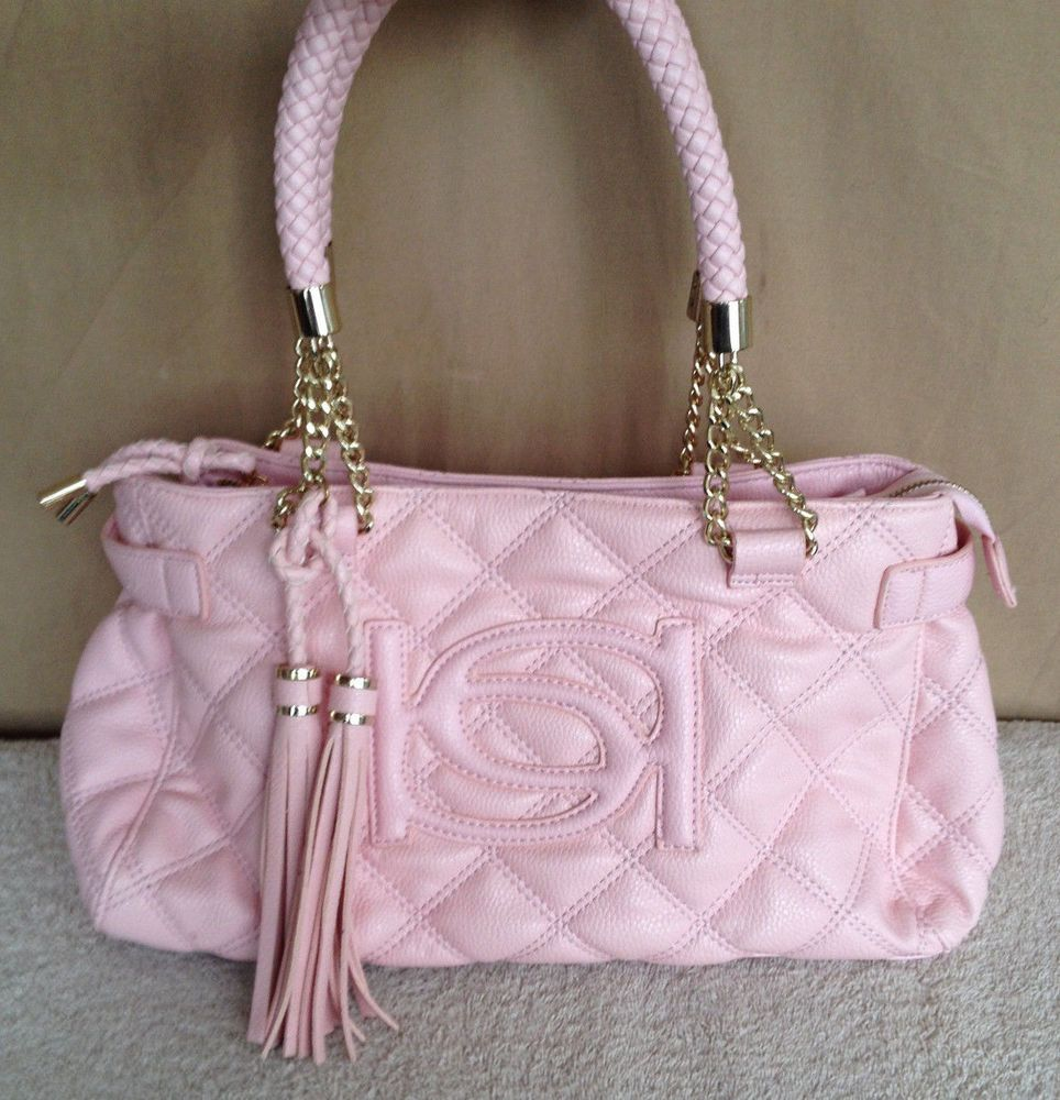 Details About Bebe Pink Quilted Leatherette Tassle Chain