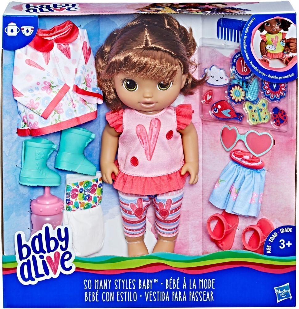 Baby Alive So Many Styles Baby Brown Straight Hair Doll With