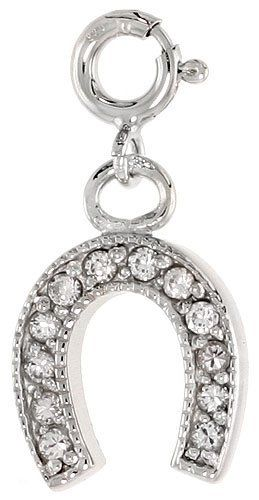 Sterling Silver Jeweled Horseshoe Pendant, w/ CZ Stones, 3/4 inch (17 mm) Sabrina Silver. $25.50