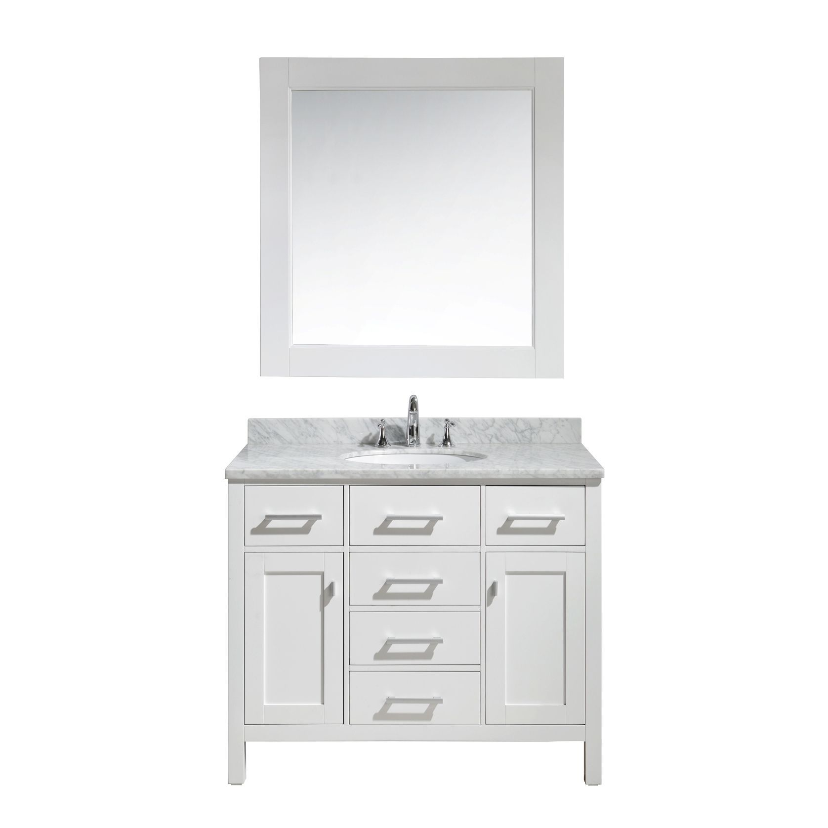 London 42Inch Single Sink Vanity Set In White Finish  Overstock Enchanting Design Element Bathroom Vanity Design Ideas