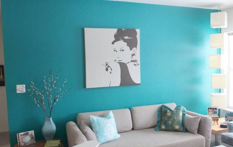 Interior : Contemporary Living Room With Turquoise Wall Color Paint And Grey Leather Sofa Decor Idea Interesting Turquoise Theme Color for Your Room