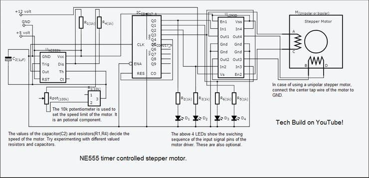 Stepper Motor Speed Control with an NE555 Timer - ster ... on bipolar stepper motor schematic, motor control circuit schematic, servo motor schematic, unipolar stepper driver schematic, stepper motor controller schematic,