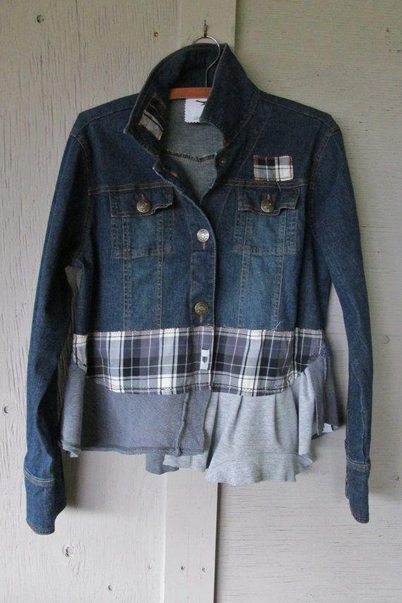 Eco Cropped Upcycled Denim Jacket Artsy Funky Jacket Casual
