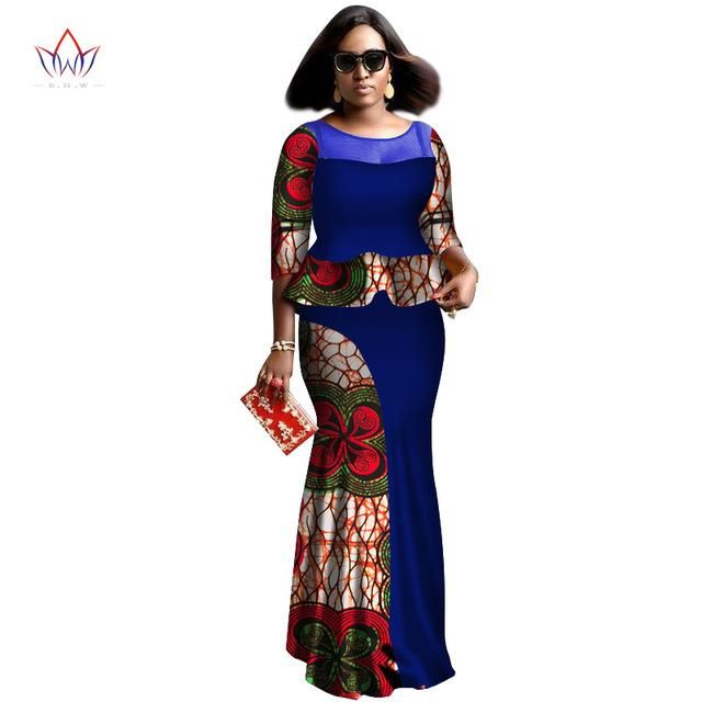 0ca50f6f232 African women two piece o-neck print Skirt set african clothing plus size -OWY459