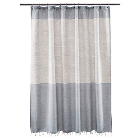 Threshold Shower Curtain Stripe Blue Fringe Target Stylish