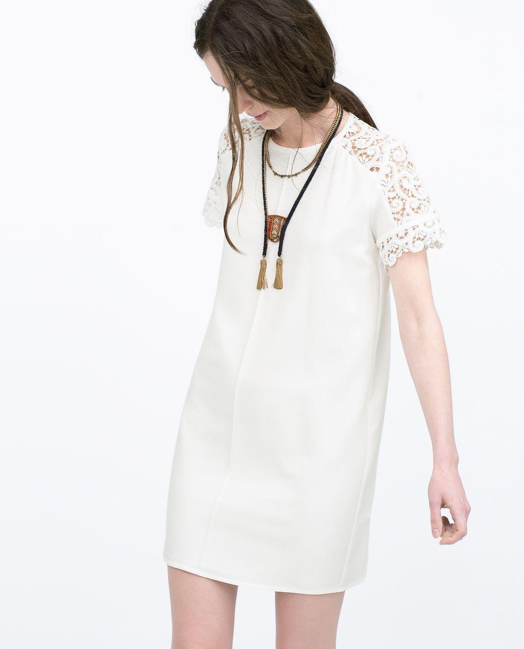 White lace dress zara  Image  of LOOSE DRESS WITH GUIPURE YOKE from Zara  boho lux
