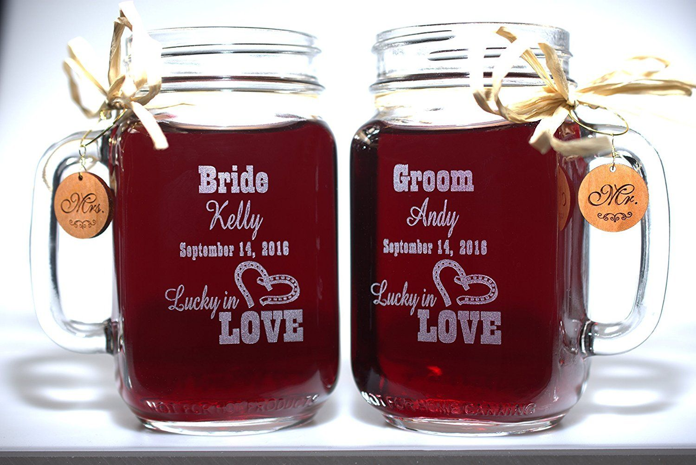 Bride and groom wedding mason jars for your