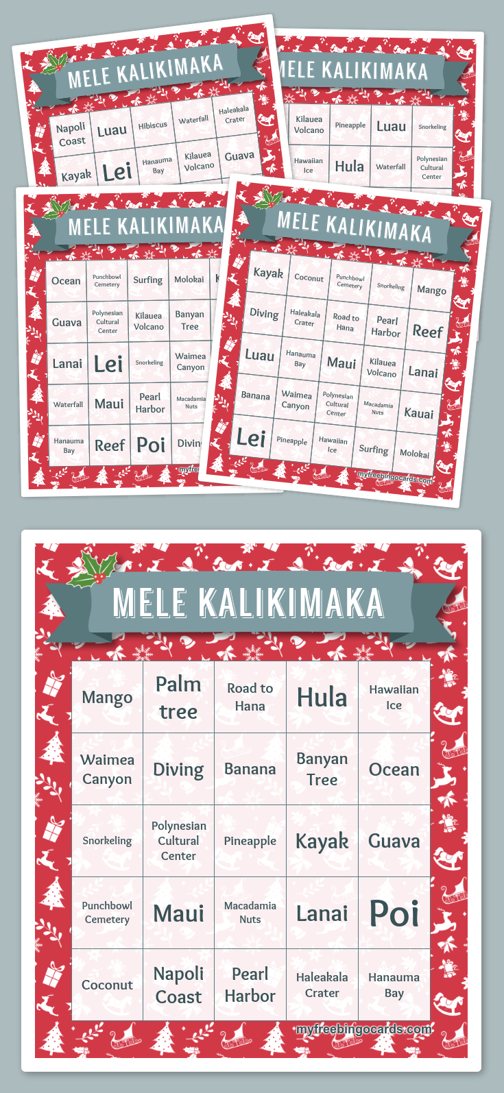 Mele Kalikimaka Bingo | Christmas | Pinterest