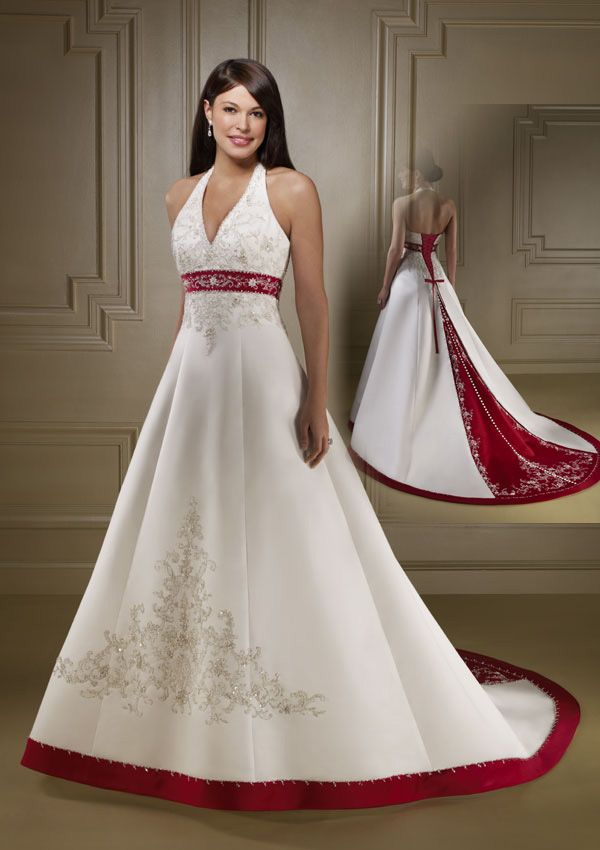 Most Loved Long Halter Wedding Dress With Color Red I Would Do It In Navy Blue Or Baby