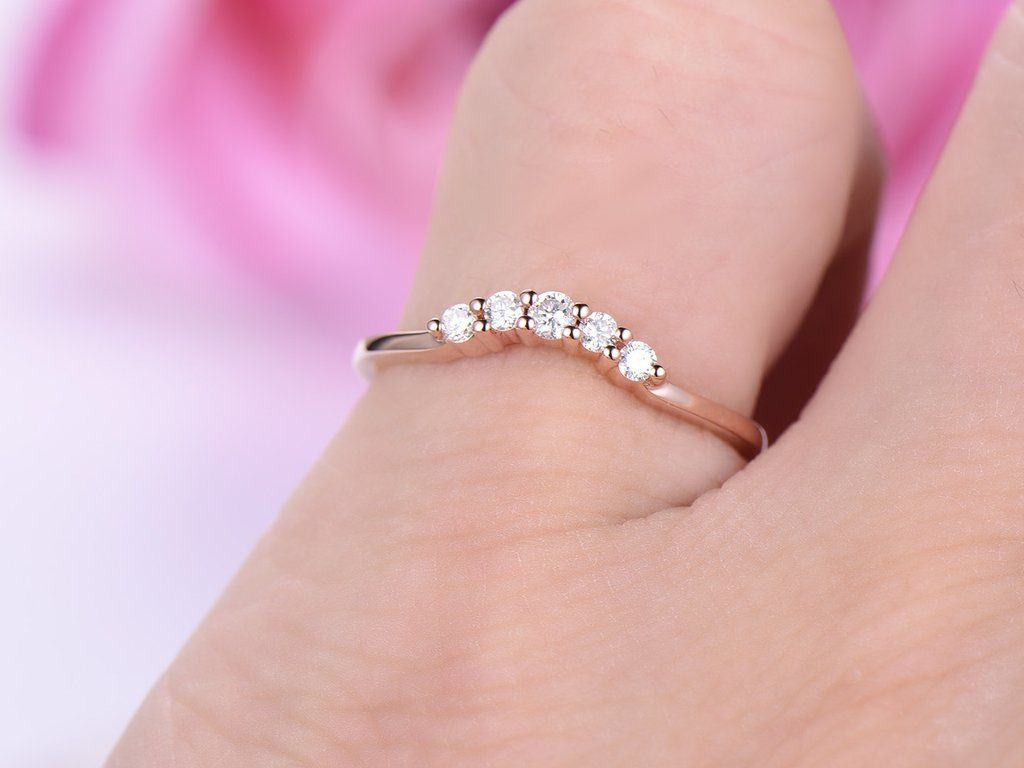 Diamond Wedding Band Hlaf Enternity Anniversary Ring 14K Rose Gold ...
