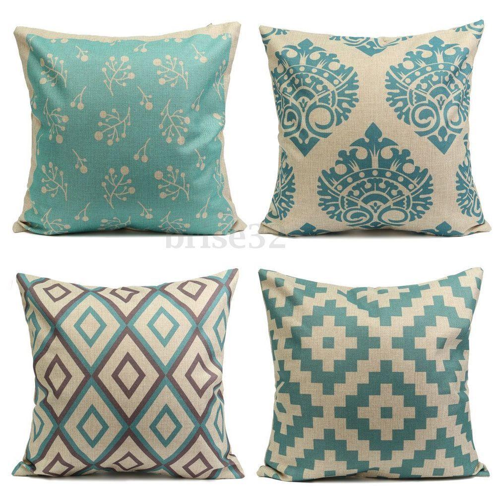 Geometry aqua mint green home decor cotton linen cushion cover throw