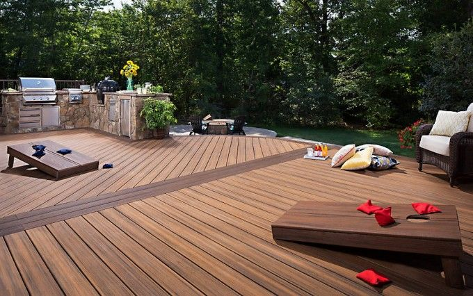 Lovely Decking In Havana Gold And Ed Rum With Outdoor Kitchen Island For Expensive Trex Cost Ideas