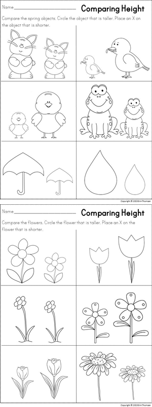 comparing height spring themed literacy and math printables maths kindergarten math. Black Bedroom Furniture Sets. Home Design Ideas