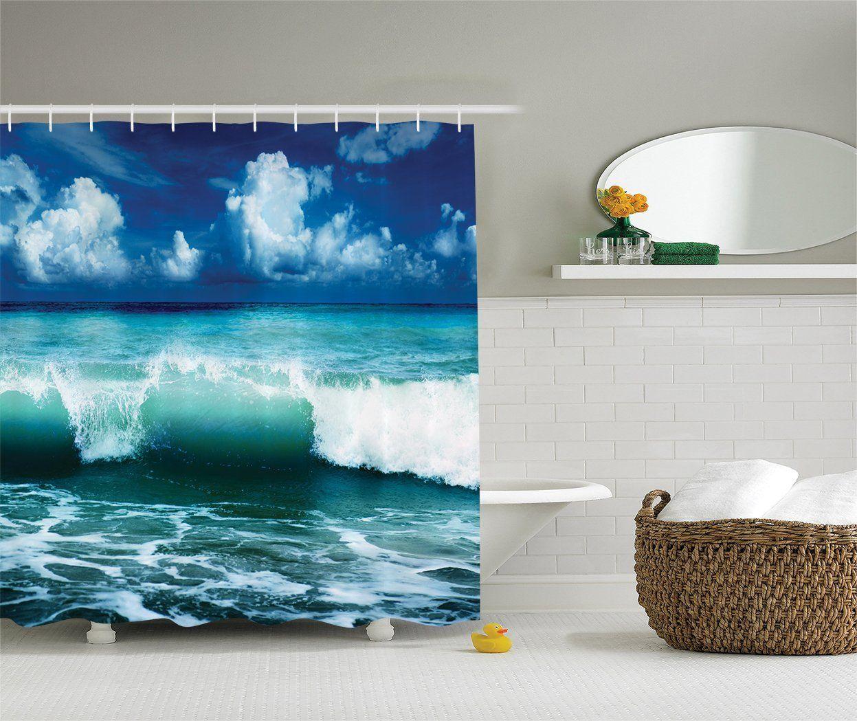 Home Design 3d Keeps Crashing: Crashing Waves Beach Themed Shower Curtain