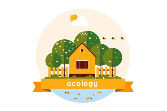 Village landscape. Ecology theme. - Illustrations - 1