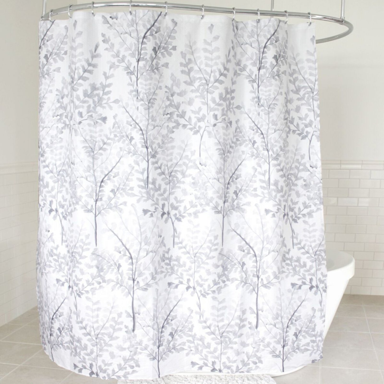 Sweet Home Collection Yin Gray Floral Leaf Pattern Fabric Shower