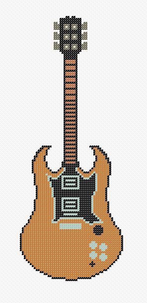 Dibujos Punto de Cruz Gratis Guitar Cross Stitch Pattern