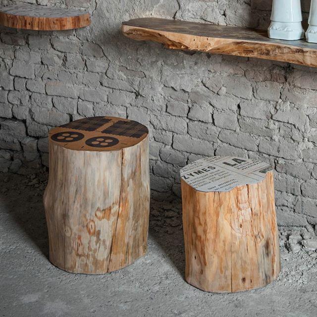 Meubles vari s en troncs d 39 arbre sci s bois - Meuble tronc arbre ...