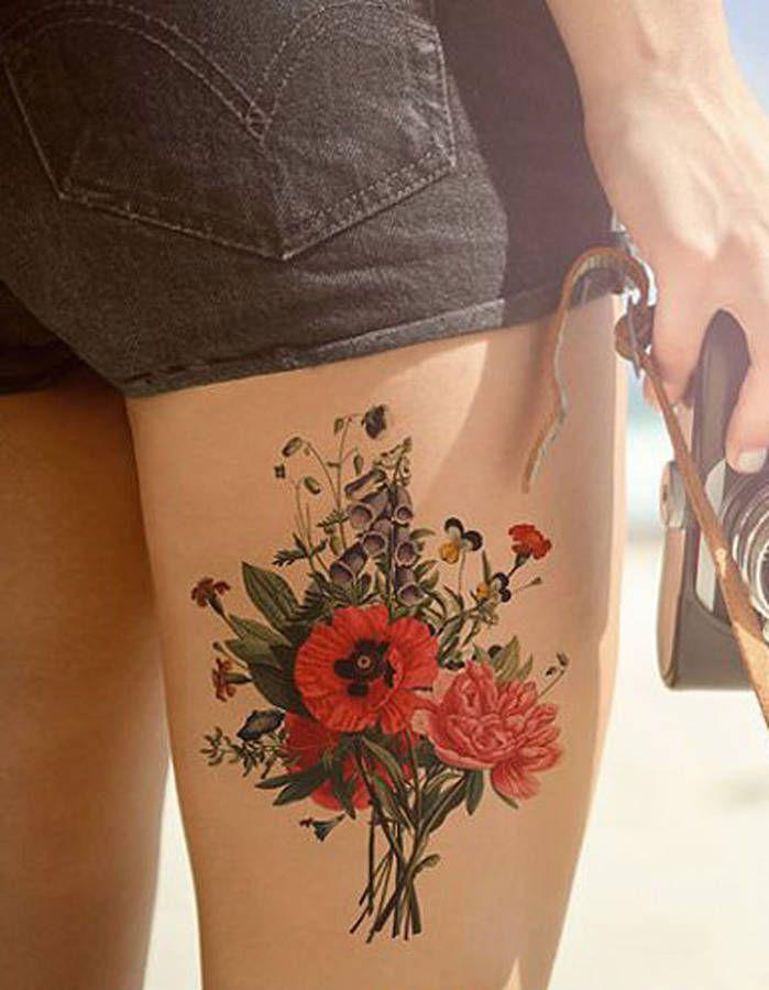 tatouage cuisse fleur tatouages tattoo tatouage. Black Bedroom Furniture Sets. Home Design Ideas