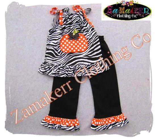Custom Boutique Clothing Girl Zebra Pumpkin Outfit Thanksgiving Halloween Turkey Dress Pant Set   Month Size T T T T