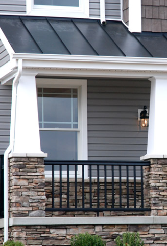 Porch Detail With Stone Detail Augusta Craftsman Elevation House Exterior Metal Roof Houses Craftsman House