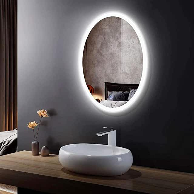 Amazon Com Oval Bathroom Mirrors For Wall 34x36 In 2020 Led Mirror Bathroom Bathroom Mirror Lighted Vanity Mirror