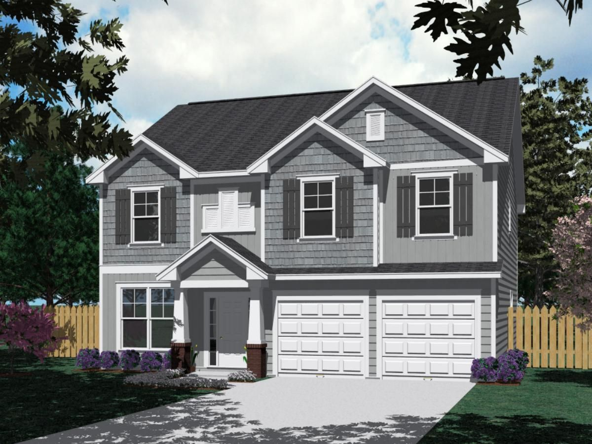 "House Plan 2691-A McCORMICK A elevation - 2691 Square Feet 39'-0"" wide by  42'-0"" deep 5 Bedrooms/3 1/2 baths Formal Dining Room Optional His/Her  Master Bath"