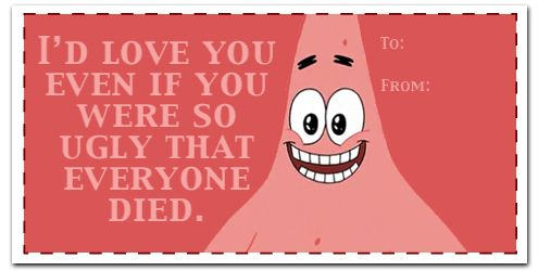 funny things - Spongebob Valentine Cards