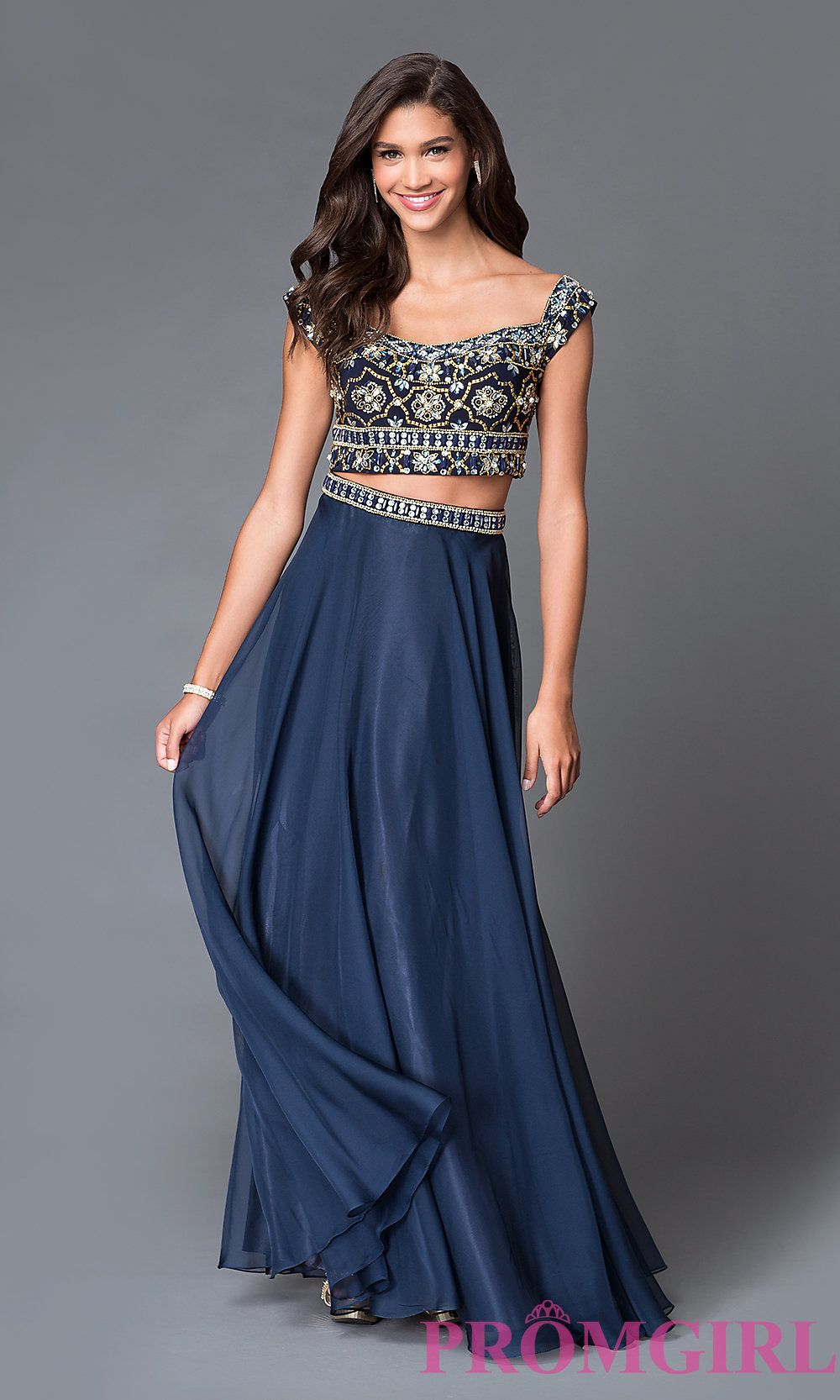 Two piece beaded cap sleeve long navy prom dress spring and shopping
