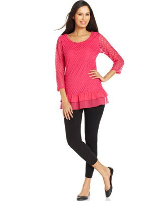 Style&co. Mixed Media Top & Stretch Ankle Leggings