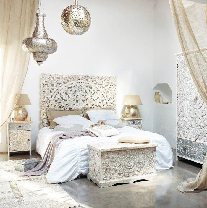 The Kerala White Headboard Hand Carved From Solid Mango Wood Is Then Painted  In Antiqued White.