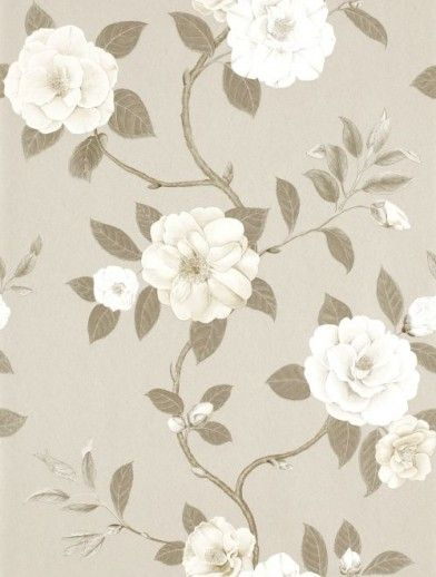 Christabel+(213379)+-+Sanderson+Wallpapers+-+A+beautiful,+all+over+floral+trail+pattern+with+large+flowers+and+leaves.+Shown+here+in+beige,+taupe+and+cream.+Other+colourways+are+available.+Please+request+a+sample+for+a+true+colour+match.++Paste-the-wall+product.