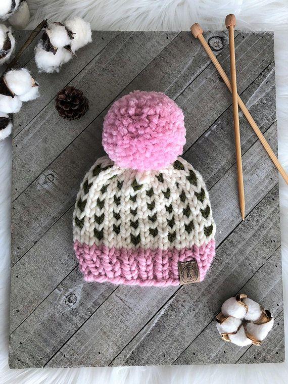 d2f178f58 Pink Green Cream Pom Pom Baby Hat Baby Knit Hat Newborn Beanie ...
