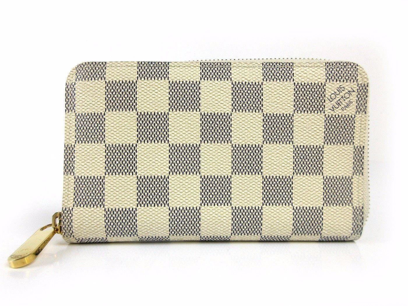 Auth Louis Vuitton Damier Azur Zippy Compact Wallet N60029 Great Dust Bag 36694