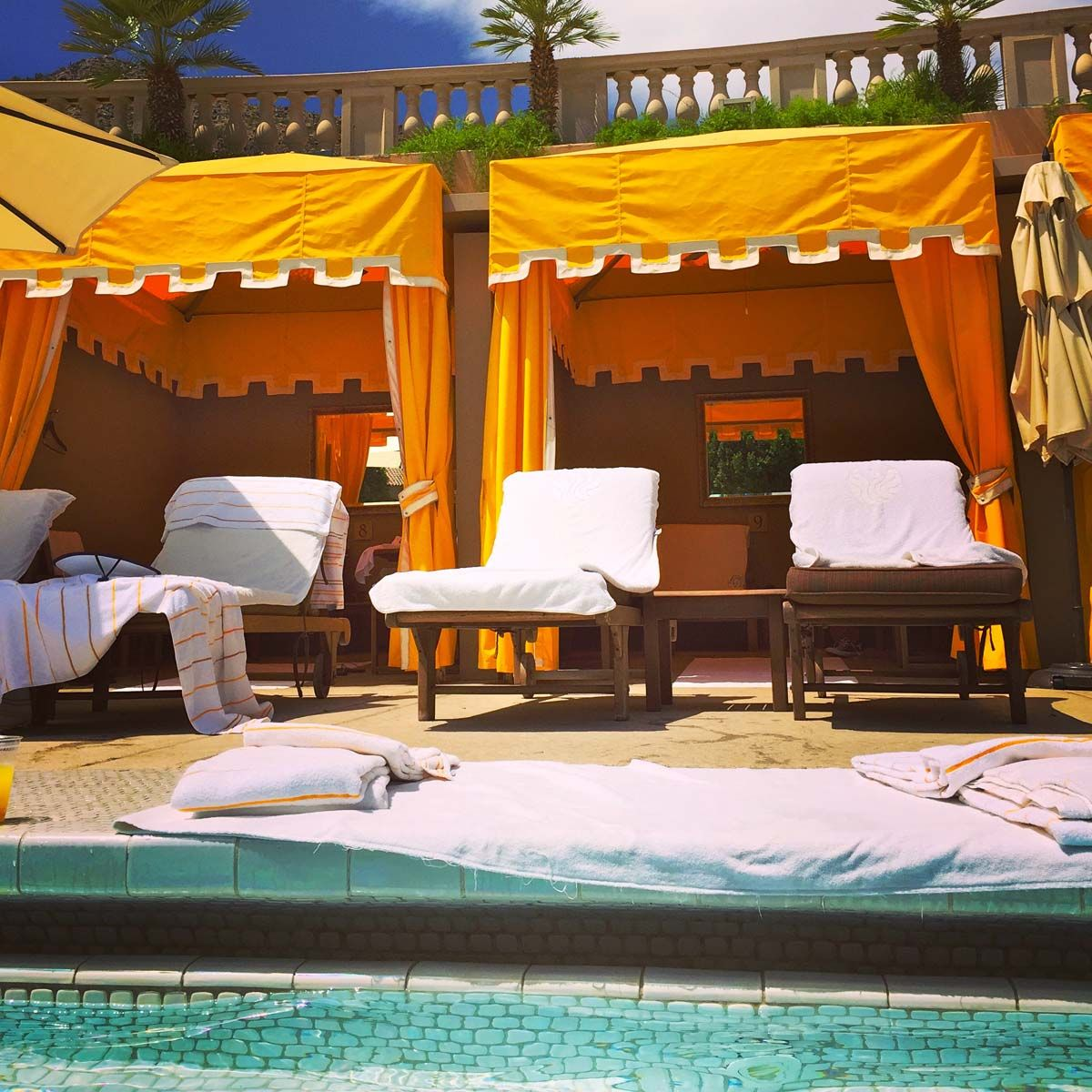 cabanas at mother of pearl pool. staycation spotlight: the