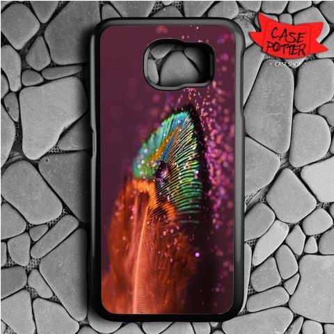Glitter Peacock Feather Samsung Galaxy S7 Black Case