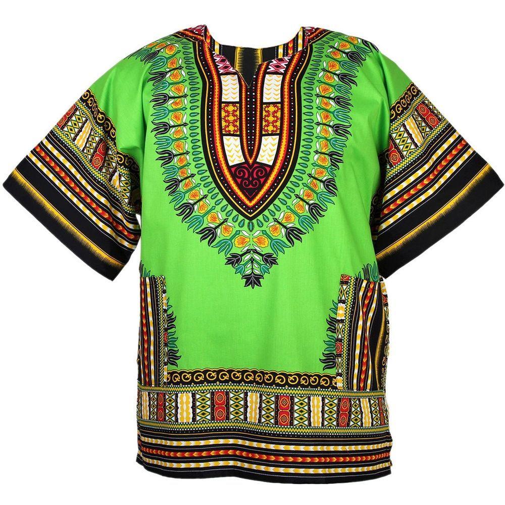 Dashiki Hoddie Shirt African Men Top Hippie Vintage Tribal Women Blouse One Size