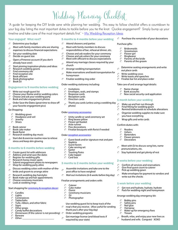 Printable Wedding Planning Checklist for DIY Brides | DIY ...