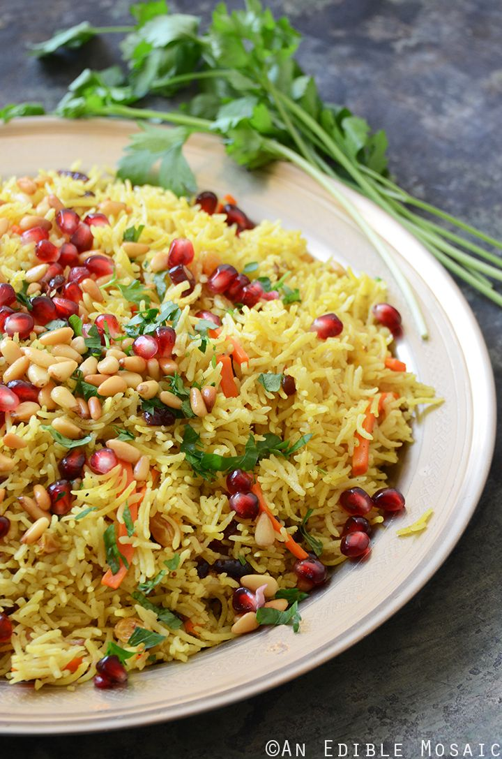 Jewel-Toned Sweet and Savory Basmati Rice Pilaf with Pomegranate #roshhashanarecipes