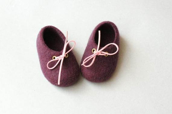 936a928b55b9a Felted shoes for baby with leather sole Wool slippers 3 Violet Felt ...